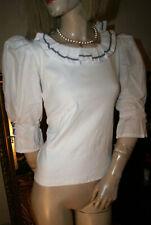 FOLK LINE Trachten - Bluse * Landhaus - Shirt mit Volant weiß bildhübsch Gr. 36