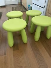 4 IKEA Mammut Children's Stool chair Indoor/Outdoor NEON GREEN RARE COLOR Used