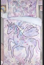 Next Kids Girls Doodle Unicorn Reversible 💯 % Cotton Double Duvet Cover Set New