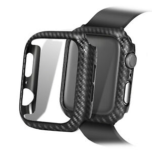 Carbon Fiber Watch Case Frame Bumper Protector Cover For Apple Watch Series 5 4