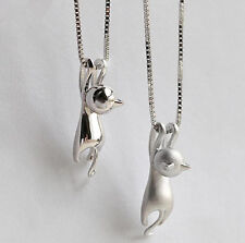 Cat Pendant Chain Necklace Stud Earrings 925 Sterling Silver Womens Jewellery UK