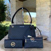 NWT Michael Kors Signature Nicole Large Shoulder handbag/Wallet black&Silver