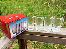 Set of 4 Snap-On Tools Glass Beer Mug NOS Embossed Logo 18 ounce Glasses 2007