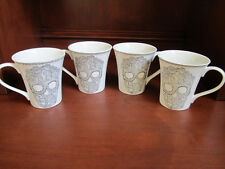 222 Fifth SKULL LACE Porcelain Coffee Mugs Cups Set 4~ Halloween Day of the Dead