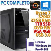 PC Ordenador Sobremesa AMD Ryzen 7 3700X RAM 32GB SSD 1TB M.2 Nvme Rw Rx 550