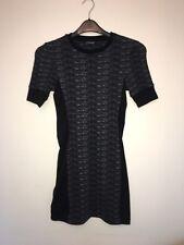TOPSHOP grey black space dye slimming panelled stretch bodycon mini dress size 8