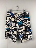 Quicksilver Men's Casual Board Shorts - Black Blue White Size 32 Swimming Beach