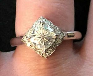Sterling Silver Ring Moissanite Fire Cushion Engagement JTV Sz8 3g Plat925 #1353