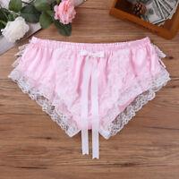 PINK Men's Sexy Sissy Lingerie Lace SATIN Thongs Briefs Underwear Panties Bikini
