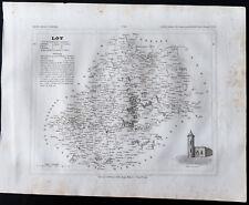 1833 - Lot - Carte ancienne du département - Gravure Monin & Ales