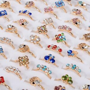 Wholesale Rings Lots Crystal Rhinestone Mixed Children Kids Rings Jewelry Gifts