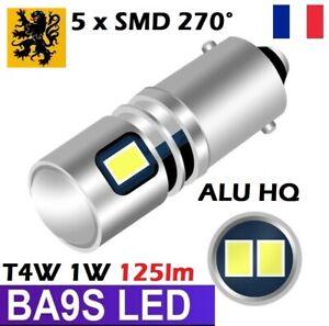 1x T11 T4W LED H6W 125Lm 5 SMD 1W  BLANC 6000K BA9S T2W T3W 270° ALU HQ PREMIUM