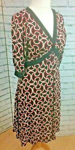 Dorothy Perkins Empire Line Dress UK 10 Black Red Cream Geometric Print office