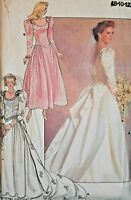 Vintage Butterick Sewing Pattern 4743 Princess Sleeve Wedding Gown Size 8,10,12