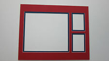Picture Framing Mat 11x14 for 8x10 photo and 2 sports cards Red with blue liner
