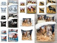 UK Made 3D Horses Photo Print Duvet Quilt Cover or Blanket or Cushion Covers