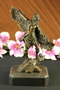 Pure Bronze Metal Statue on Stone of Brave Native Indian Chief Buffalo Headdress