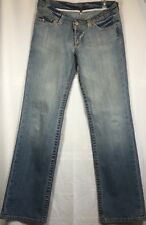 MISS BISOU Jeans Womens Size 28 Ombre Wash Blue Denim Low Rise BUTTON FLY 366T