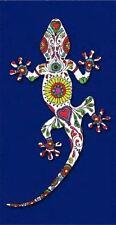 Serviette de plage Drap de bain Lézard Salamandre Gecko fleuri bleue Microfibre