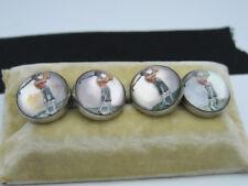 Antique Art Deco era Essex Crystal Reverse Carved Enamel Golfer Cufflink Buttons