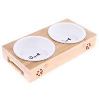 Ciotole per gatti in acciaio inox con supporto in legno