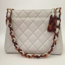 Rare Vintage Chanel White Quilted Leather Bag
