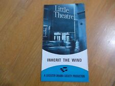 LITTLE THEATRE LEICESTER INHERIT THE WIND LAWRENCE & LEE PROGRAMME 1972