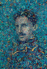 Nikola Tesla inventor engineer oil on canvas from artist art Image picture
