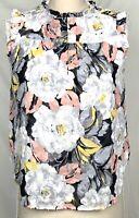 Ann Taylor LOFT Gray Floral Sleeveless Button Collar Blouse Size SP Women's Top