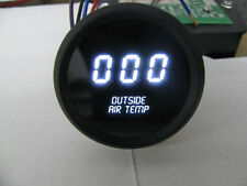 Digital OUTSIDE AIR TEMPERATURE GAUGE W/ Sender WHITE LEDs BLACK BEZEL Warranty!
