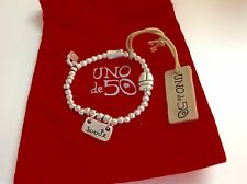 "Uno de 50 Silvertone Beaded Stretch Beaded Bracelet w/ Charms ""Suerte"" $89"