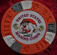"""(2) United States Marine Corps Heavy Golf Ball Marker Poker Chip  Red 1-1/2"""""""