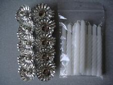 10 Metall Silber Klemmen Clip Weihnachtsbaum Kerzenhalter und 10 Weiß Kerzen
