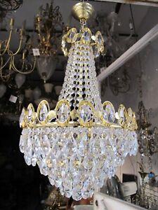 Antique Vnt French Swarovski Crystal Chandelier Lamp 1960's 14in Ø diametr RARE*
