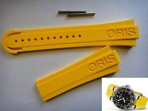 Genuine ORIS 733 7675 Aquis Depth Gauge yellow RUBBER band strap bracelet  42633