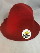 Vtg 1960's 1970's Red Felt Bucket Hat Size Small With I am the greatest Button