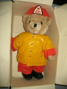 "Vintage 12"" Paddington Bear Fire Cheif Plush T.H.T. 1990 Raincoat"