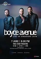 "BOYCE AVENUE ""LIVE IN SINGAPORE 2018"" CONCERT TOUR POSTER - Pop Rock Music"