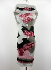 Womens Chunky Knit Pattern Wool Blend Casual Sleeveless Jumper Dress One sz BI91