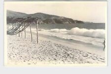RPPC REAL PHOTO POSTCARD FOREIGN MEXICO ACAPULCO BEACH VIEW WITH SURF COMING IN
