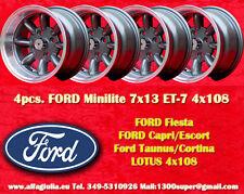 4 Cerchi FORD LOTUS TALBOT Minilite 7x13 ET-7 4x108 Wheels Felgen Llantas Jantes
