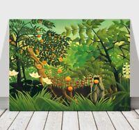"""HENRI ROUSSEAU - Monkies With Oranges & Flowers -CANVAS ART PRINT POSTER -18x12"""""""
