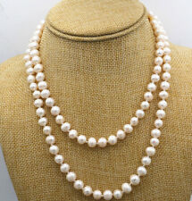 "Beautiful! 8-9mm White Akoya Freshwater Cultured Pearl Necklace 35"" JN1006"