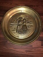 Antique Round Brass Wall Hanging Plate with Man / Girl Farm Windmill Scene