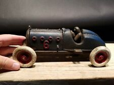 Antique Vintage Style Blue Cast Iron #6 Toy Race Car w Lifting Hood
