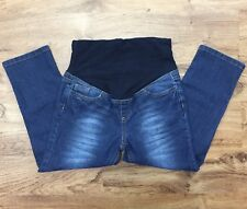 Belly By Design Maternity Capri Jeans Stretch Denim Knit Tummy Panel Women's S
