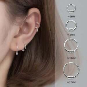 Solid Silver Hoop Huggie Earrings-Sleep Wearing Long Lasting Tragus Cartilage