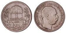 XA.206} HUNGARY 1 korona 1893 / Silver / VF-