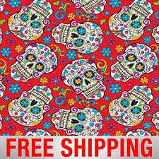 "Fleece Fabric Sugar Skulls Dia de los Muertos Red 60"" BB 2888-1 Free Shipping"