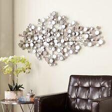 Antique Silver Mirrored Metal Wall Piece Sculpture Art Home Indoor Decor Display